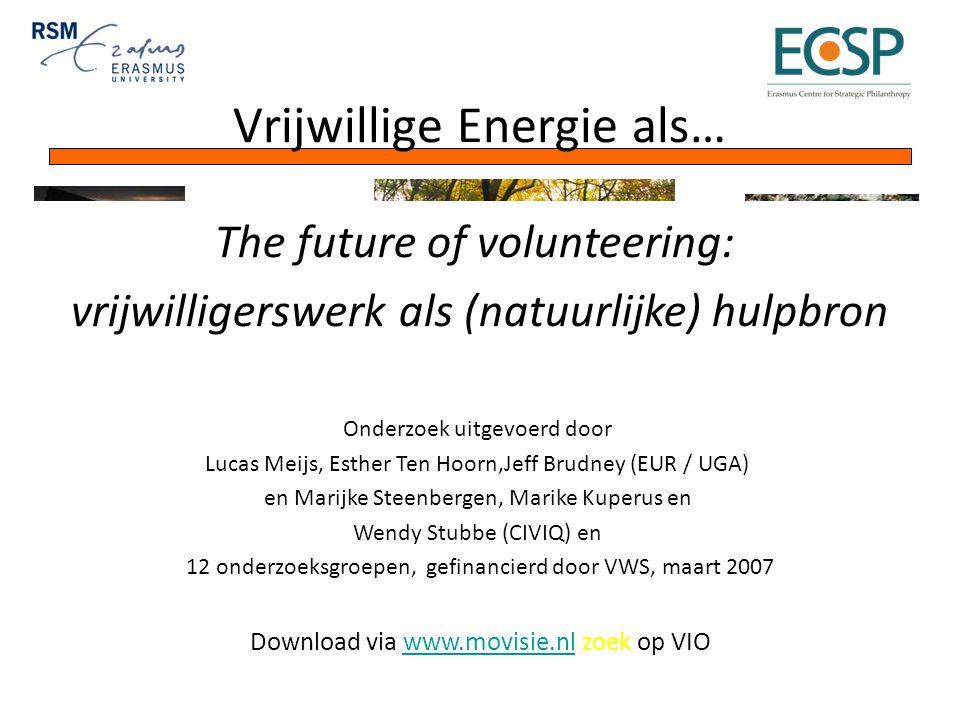 Vrijwillige Energie als… The future of volunteering: vrijwilligerswerk als (natuurlijke) hulpbron Onderzoek uitgevoerd door Lucas Meijs, Esther Ten Hoorn,Jeff Brudney (EUR / UGA) en Marijke Steenbergen, Marike Kuperus en Wendy Stubbe (CIVIQ) en 12 onderzoeksgroepen, gefinancierd door VWS, maart 2007 Download via www.movisie.nl zoek op VIOwww.movisie.nl