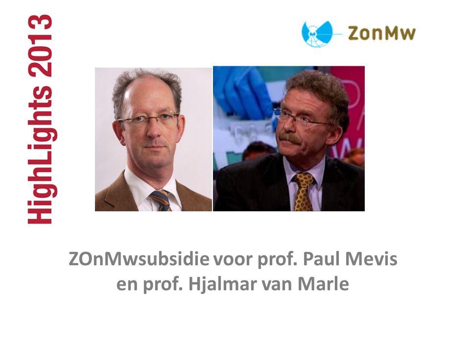 ZOnMwsubsidie voor prof. Paul Mevis en prof. Hjalmar van Marle