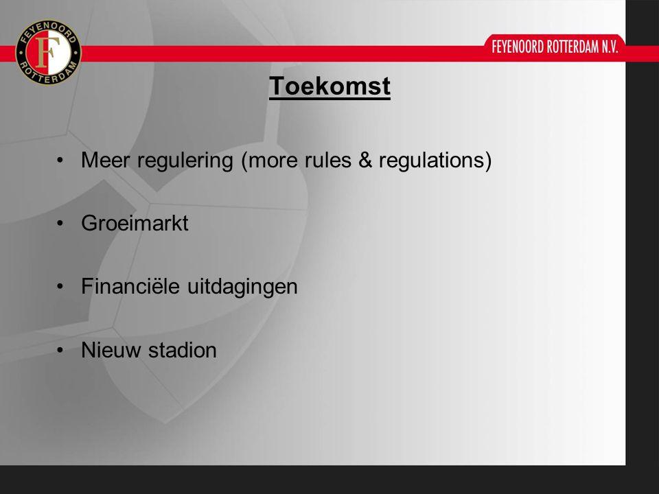 Toekomst Meer regulering (more rules & regulations) Groeimarkt Financiële uitdagingen Nieuw stadion