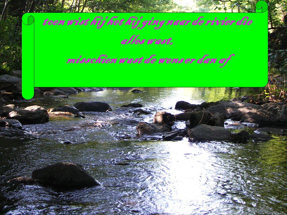 toen wist hij het hij ging naar de rivier die alles wast, misschien wast de wens er dan af