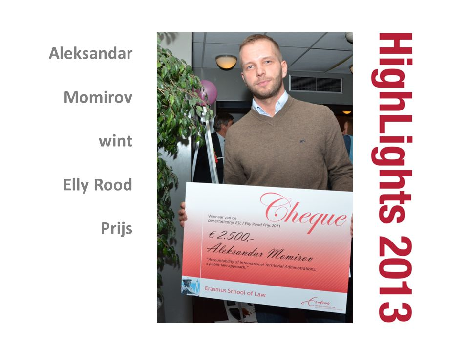 Aleksandar Momirov wint Elly Rood Prijs