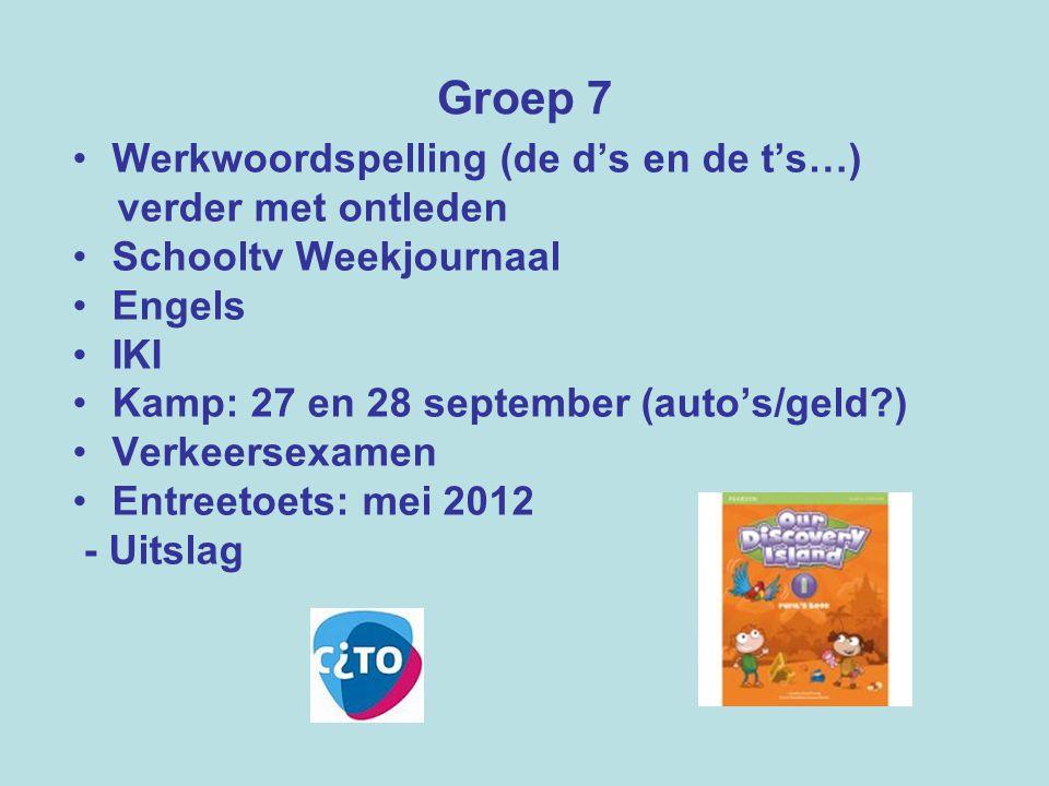 Groep 7 Werkwoordspelling (de d's en de t's…) verder met ontleden Schooltv Weekjournaal Engels IKI Kamp: 27 en 28 september (auto's/geld?) Verkeersexa