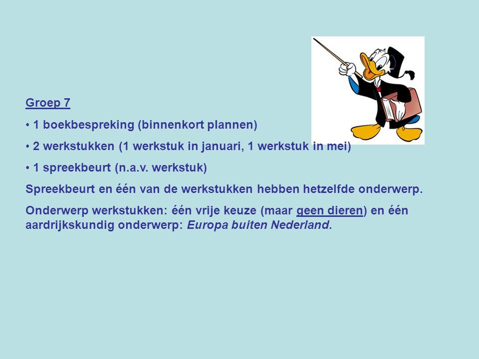 Groep 7 1 boekbespreking (binnenkort plannen) 2 werkstukken (1 werkstuk in januari, 1 werkstuk in mei) 1 spreekbeurt (n.a.v. werkstuk) Spreekbeurt en