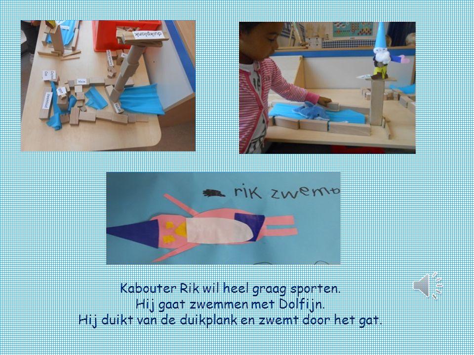 Kabouter Rik wil heel graag sporten.Hij gaat zwemmen met Dolfijn.