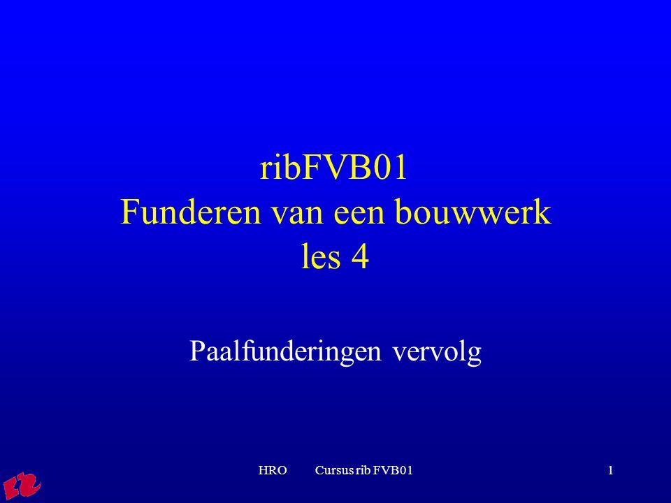 HRO Cursus rib FVB0122 Berekeningsvoorbeeld Indien traject I = 4*D: q c, I = 12,5 MPa In dit geval geeft 4*D eq de laagste waarde!