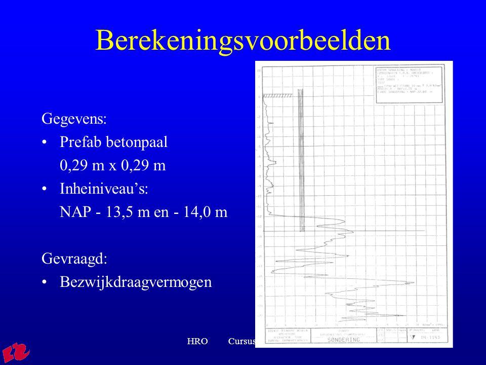 HRO Cursus rib FVB0118 Berekeningsvoorbeelden Gegevens: Prefab betonpaal 0,29 m x 0,29 m Inheiniveau's: NAP - 13,5 m en - 14,0 m Gevraagd: Bezwijkdraagvermogen