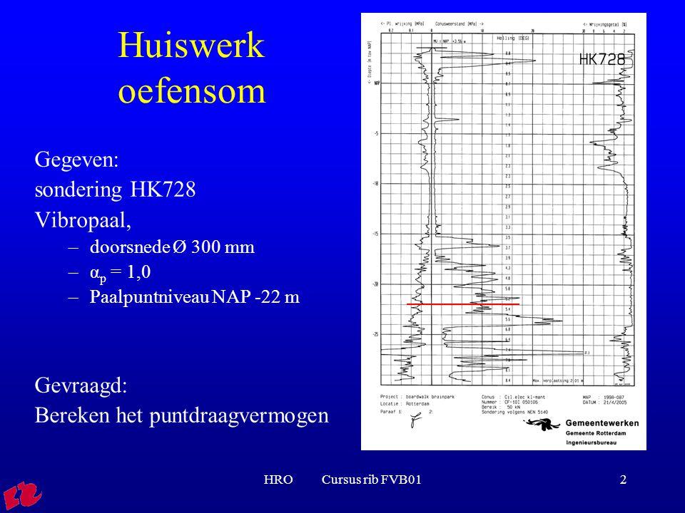 HRO Cursus rib FVB012 Huiswerk oefensom Gegeven: sondering HK728 Vibropaal, –doorsnede Ø 300 mm –α p = 1,0 –Paalpuntniveau NAP -22 m Gevraagd: Bereken het puntdraagvermogen