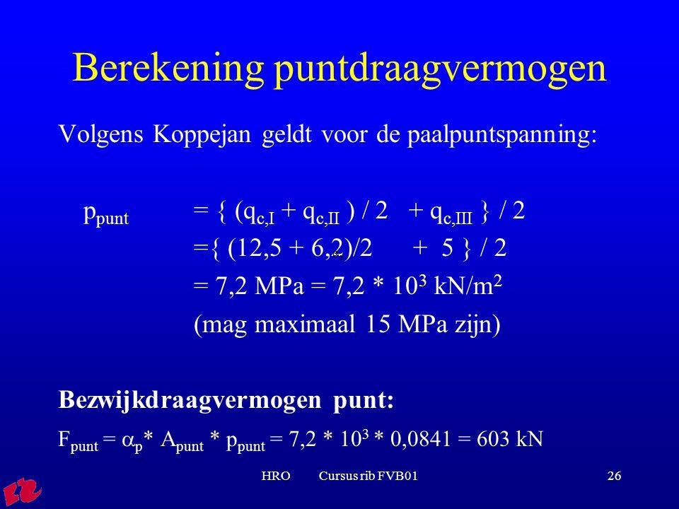 HRO Cursus rib FVB0126 Berekening puntdraagvermogen Volgens Koppejan geldt voor de paalpuntspanning: p punt = { (q c,I + q c,II ) / 2 + q c,III } / 2 ={ (12,5 + 6,2)/2 + 5 } / 2 = 7,2 MPa = 7,2 * 10 3 kN/m 2 (mag maximaal 15 MPa zijn) Bezwijkdraagvermogen punt: F punt =  p * A punt * p punt = 7,2 * 10 3 * 0,0841 = 603 kN