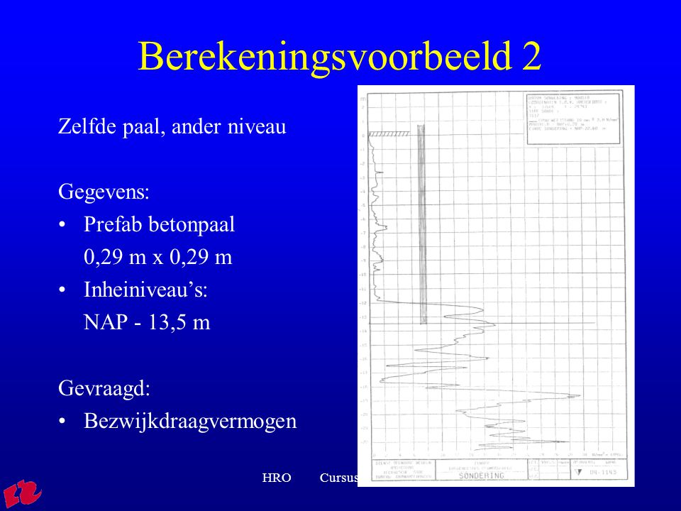 HRO Cursus rib FVB0130 Berekeningsvoorbeeld 2 Zelfde paal, ander niveau Gegevens: Prefab betonpaal 0,29 m x 0,29 m Inheiniveau's: NAP - 13,5 m Gevraagd: Bezwijkdraagvermogen