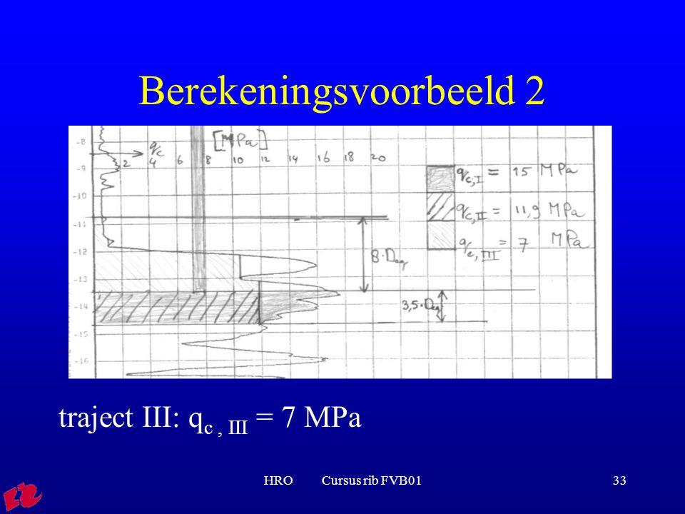 HRO Cursus rib FVB0133 Berekeningsvoorbeeld 2 traject III: q c, III = 7 MPa