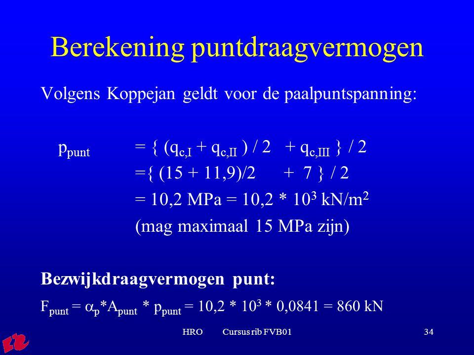 HRO Cursus rib FVB0134 Berekening puntdraagvermogen Volgens Koppejan geldt voor de paalpuntspanning: p punt = { (q c,I + q c,II ) / 2 + q c,III } / 2 ={ (15 + 11,9)/2 + 7 } / 2 = 10,2 MPa = 10,2 * 10 3 kN/m 2 (mag maximaal 15 MPa zijn) Bezwijkdraagvermogen punt: F punt =  p *A punt * p punt = 10,2 * 10 3 * 0,0841 = 860 kN