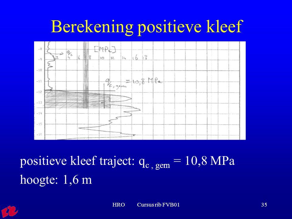 HRO Cursus rib FVB0135 Berekening positieve kleef positieve kleef traject: q c, gem = 10,8 MPa hoogte: 1,6 m