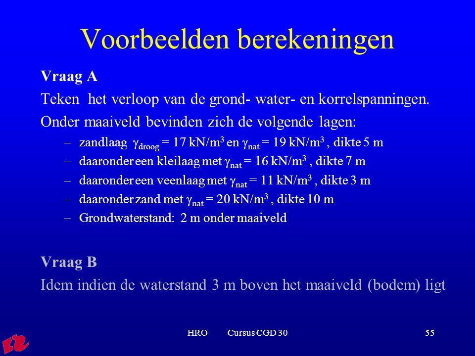 HRO Cursus CGD 3055 Voorbeelden berekeningen Vraag A Teken het verloop van de grond- water- en korrelspanningen. Onder maaiveld bevinden zich de volge