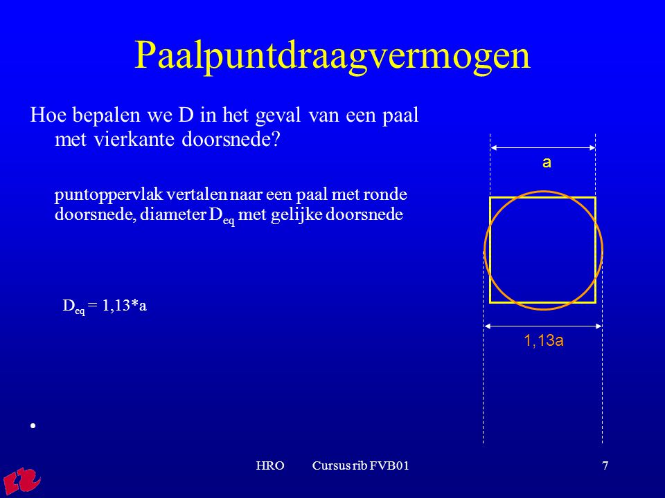 HRO Cursus rib FVB017 Paalpuntdraagvermogen Hoe bepalen we D in het geval van een paal met vierkante doorsnede? puntoppervlak vertalen naar een paal m