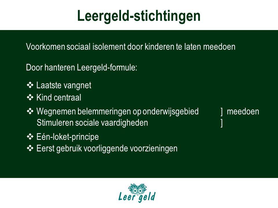 Leergeld-stichtingen Organisatie  Juridisch autonoom  Leden van de landelijke Vereniging  Verbonden aan collega-stichtingen door Lg-formule