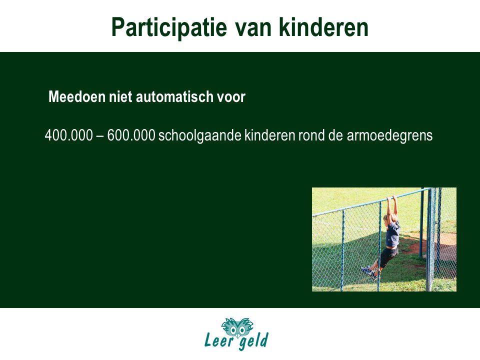 Participatie van kinderen Meedoen niet automatisch voor 400.000 – 600.000 schoolgaande kinderen rond de armoedegrens