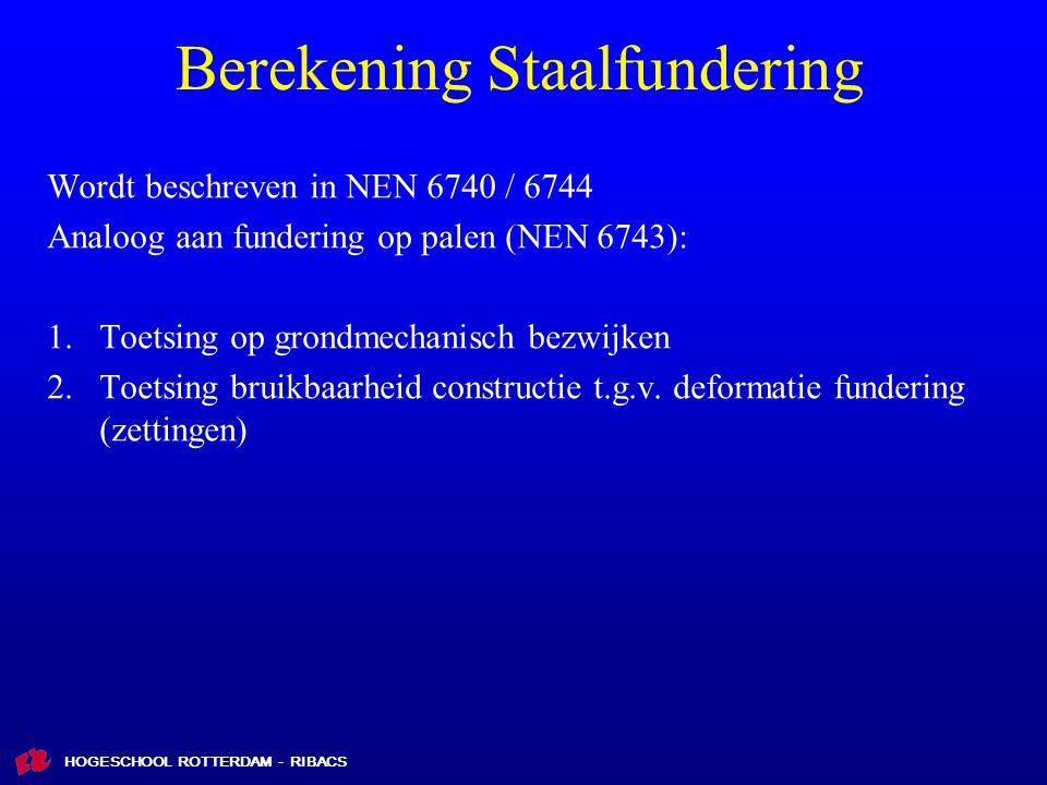 HOGESCHOOL ROTTERDAM - RIBACS Berekening Staalfundering Wordt beschreven in NEN 6740 / 6744 Analoog aan fundering op palen (NEN 6743): 1.Toetsing op grondmechanisch bezwijken 2.Toetsing bruikbaarheid constructie t.g.v.