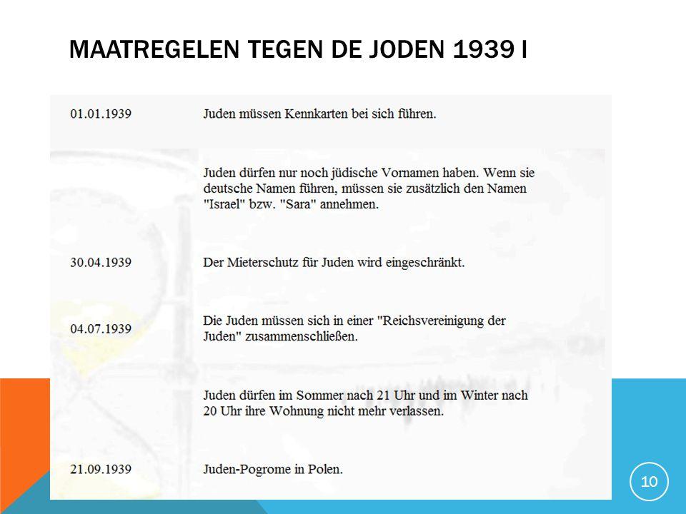 MAATREGELEN TEGEN DE JODEN 1939 I 10