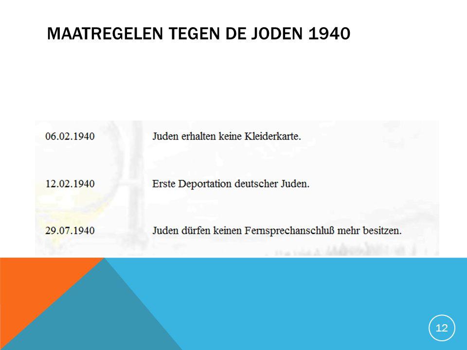 MAATREGELEN TEGEN DE JODEN 1940 12