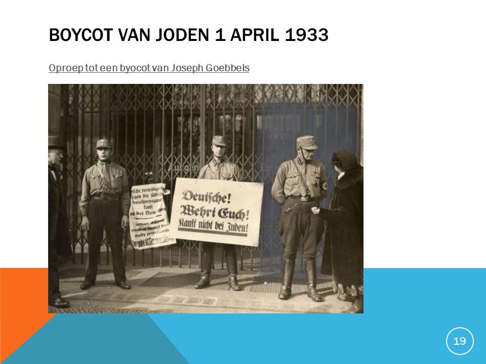 BOYCOT VAN JODEN 1 APRIL 1933 Oproep tot een byocot van Joseph Goebbels 19