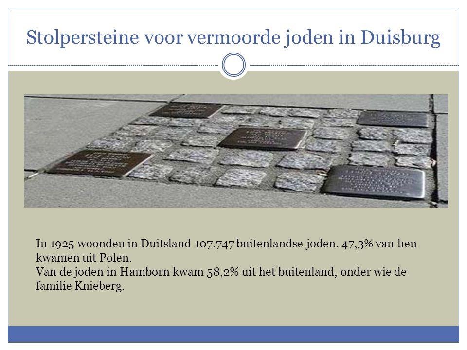 Stolpersteine voor vermoorde joden in Duisburg In 1925 woonden in Duitsland 107.747 buitenlandse joden. 47,3% van hen kwamen uit Polen. Van de joden i
