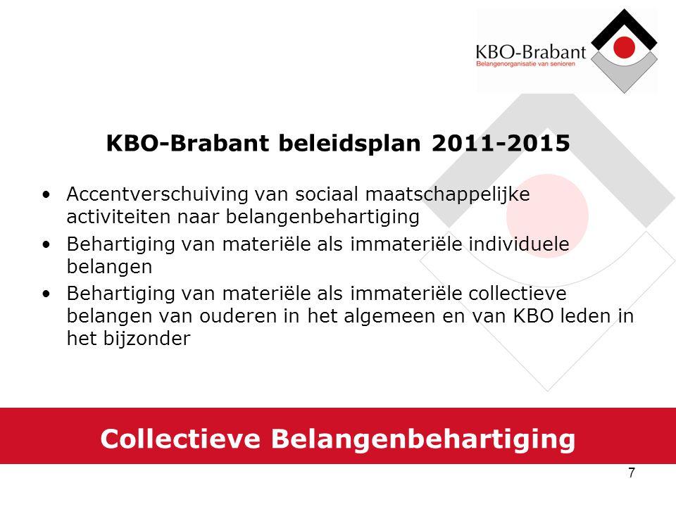 8 Collectieve Belangenbehartiging De rol van KBO-Brabant Ondersteunen en versterken van de lokale belangenbehartiging In VBOB verband trainen en bijscholen van individuele belangenbehartigers Participeren in landelijke platforms collectieve belangenbehartiging