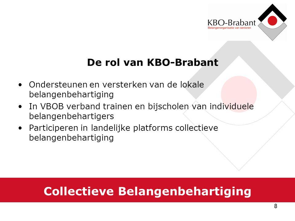 8 Collectieve Belangenbehartiging De rol van KBO-Brabant Ondersteunen en versterken van de lokale belangenbehartiging In VBOB verband trainen en bijsc
