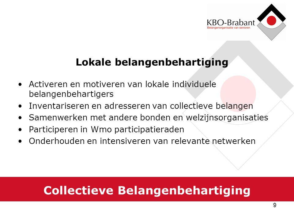 9 Collectieve Belangenbehartiging Lokale belangenbehartiging Activeren en motiveren van lokale individuele belangenbehartigers Inventariseren en adres
