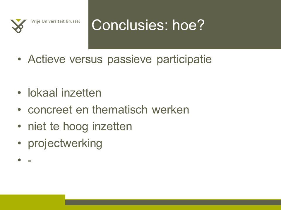 Conclusies: hoe.