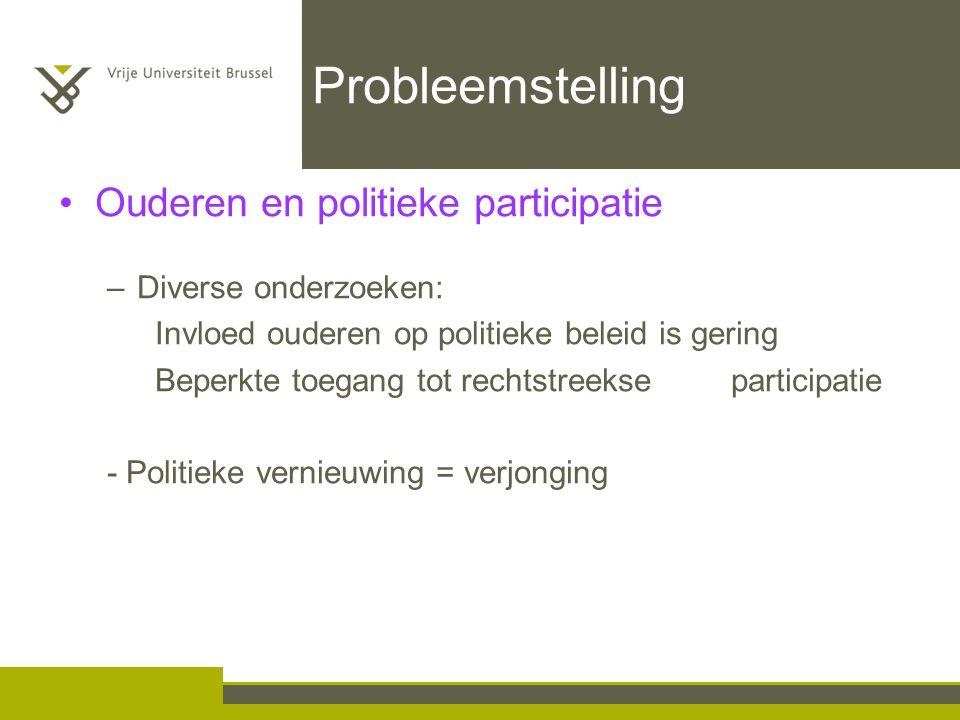Probleemstelling Ouderen en politieke participatie –Diverse onderzoeken: Invloed ouderen op politieke beleid is gering Beperkte toegang tot rechtstreekse participatie - Politieke vernieuwing = verjonging