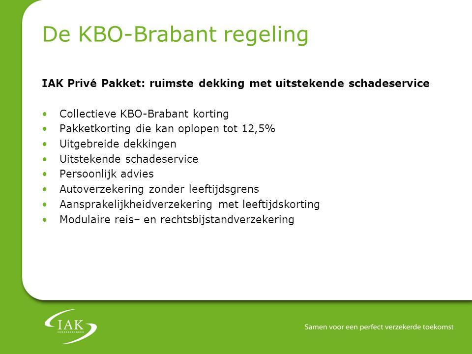 De KBO-Brabant regeling IAK Privé Pakket: ruimste dekking met uitstekende schadeservice Collectieve KBO-Brabant korting Pakketkorting die kan oplopen