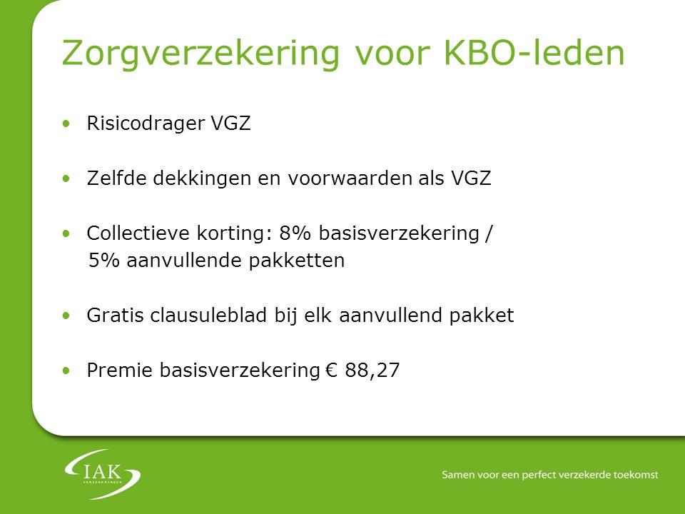 Zorgverzekering voor KBO-leden Risicodrager VGZ Zelfde dekkingen en voorwaarden als VGZ Collectieve korting: 8% basisverzekering / 5% aanvullende pakk