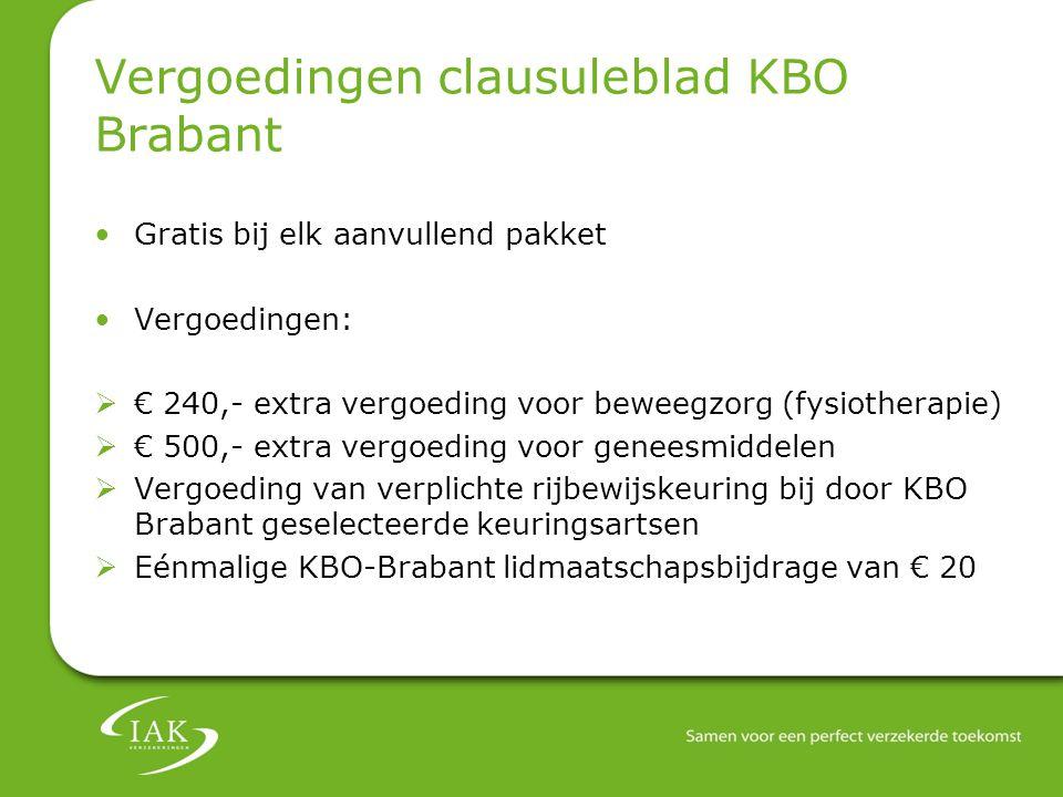 Vergoedingen clausuleblad KBO Brabant Gratis bij elk aanvullend pakket Vergoedingen:  € 240,- extra vergoeding voor beweegzorg (fysiotherapie)  € 50