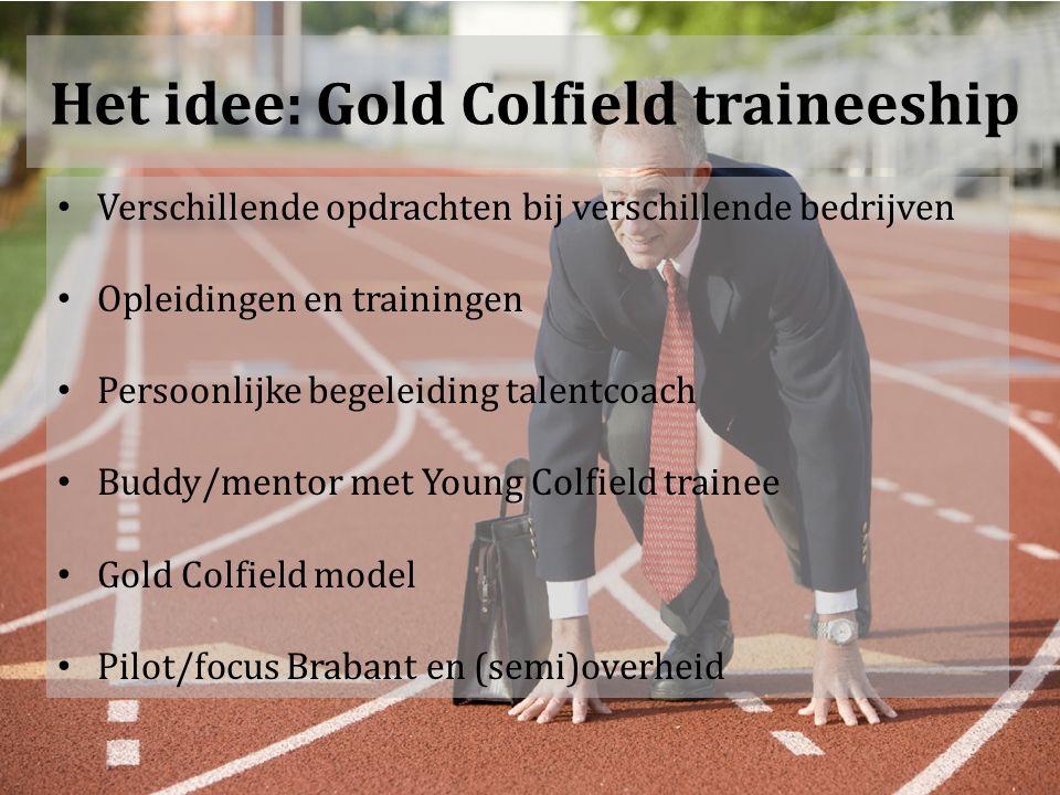 Het idee: Gold Colfield traineeship Verschillende opdrachten bij verschillende bedrijven Opleidingen en trainingen Persoonlijke begeleiding talentcoach Buddy/mentor met Young Colfield trainee Gold Colfield model Pilot/focus Brabant en (semi)overheid