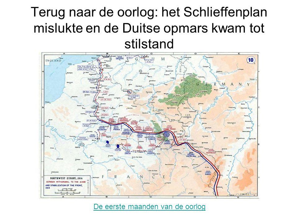 Noord-Frankrijk en Zuid-België vormen het Westfront Het westfront wordt bekend door de hele lange verdedigingslijnen waar beide partijen zich ingraven: de loopgraven.