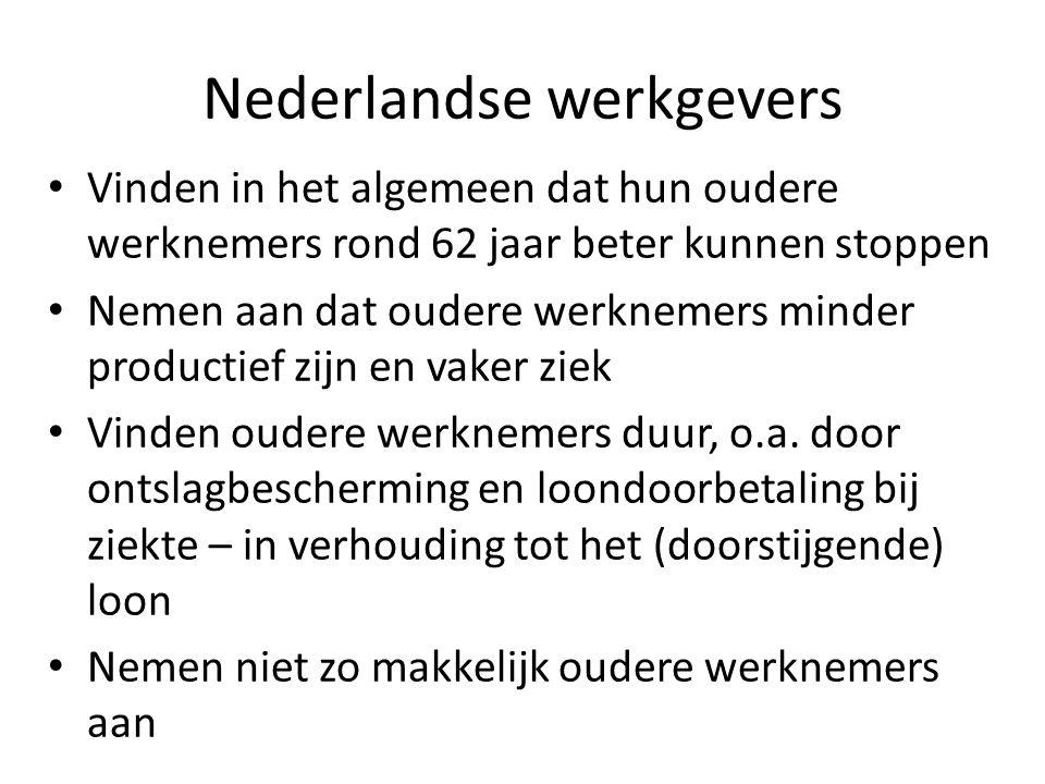 Nederlandse werkgevers Vinden in het algemeen dat hun oudere werknemers rond 62 jaar beter kunnen stoppen Nemen aan dat oudere werknemers minder produ