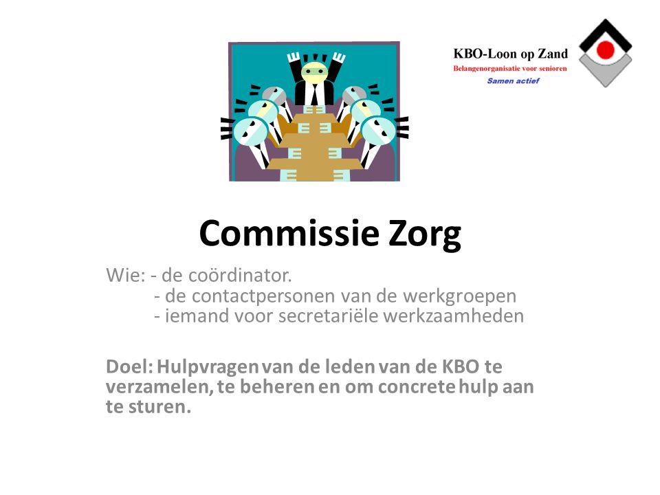 Commissie Zorg Wie: - de coördinator. - de contactpersonen van de werkgroepen - iemand voor secretariële werkzaamheden Doel: Hulpvragen van de leden v