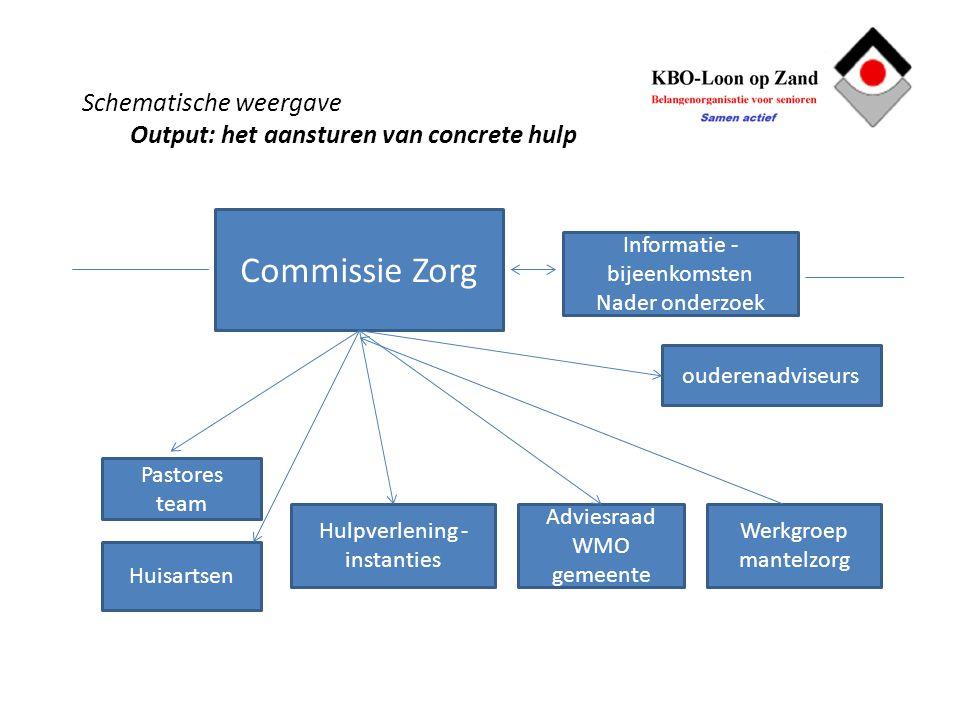Schematische weergave Output: het aansturen van concrete hulp Commissie Zorg Informatie - bijeenkomsten Nader onderzoek Pastores team Huisartsen Hulpv
