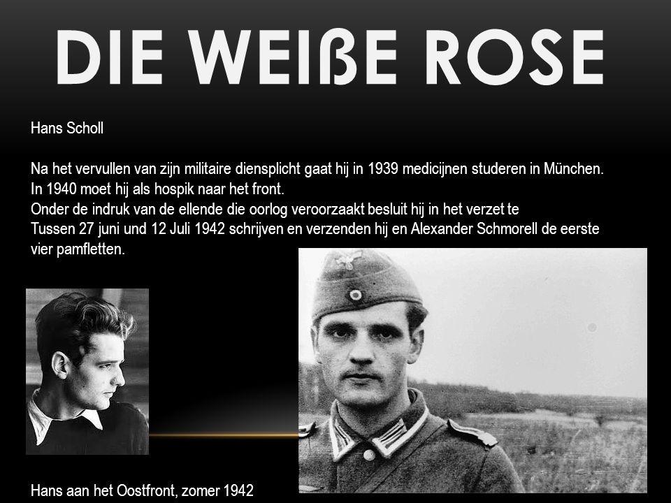 DIE WEIßE ROSE Op 18 februari 1943 worden Hans en Sophie in de universiteit betrapt op het verspreiden van pamfletten en gearresteerd Tijdens zijn verhoor verklaart Hans dat hij zich verplicht voelde in het verzet te gaan omdat hij niet onverschilledig tegenover het lot van zijn land stond.