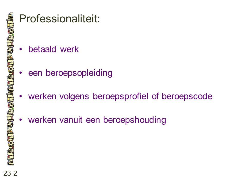 Professionaliteit: 23-2 betaald werk een beroepsopleiding werken volgens beroepsprofiel of beroepscode werken vanuit een beroepshouding