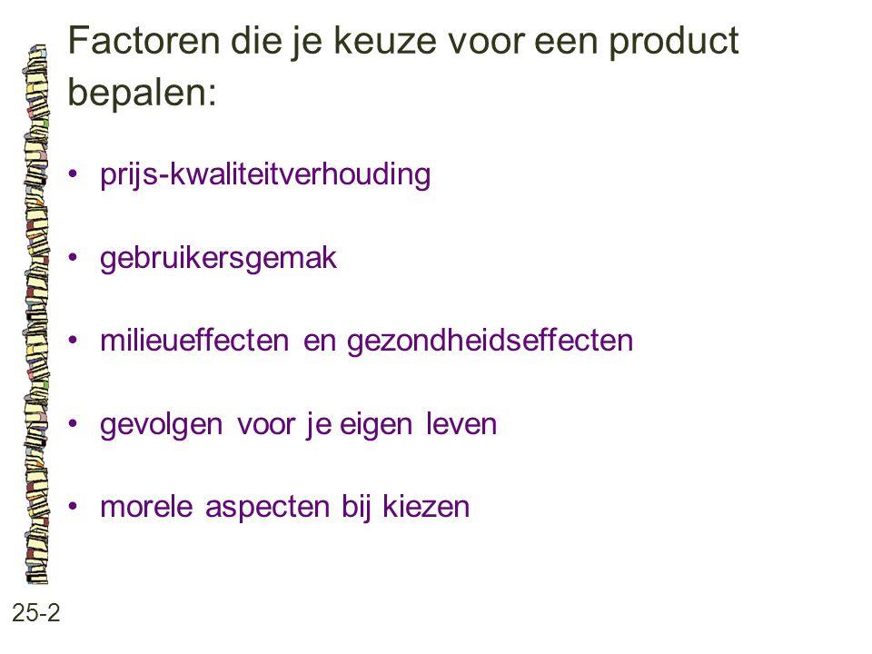 Factoren die je keuze voor een product bepalen: 25-2 prijs-kwaliteitverhouding gebruikersgemak milieueffecten en gezondheidseffecten gevolgen voor je