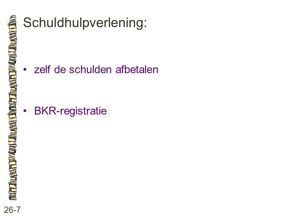 Schuldhulpverlening: 26-7 zelf de schulden afbetalen BKR-registratie