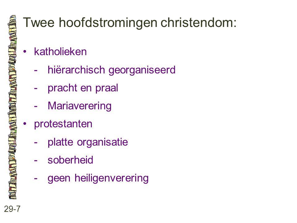 Twee hoofdstromingen christendom: 29-7 katholieken -hiërarchisch georganiseerd -pracht en praal -Mariaverering protestanten -platte organisatie -sober
