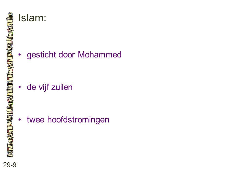 Islam: 29-9 gesticht door Mohammed de vijf zuilen twee hoofdstromingen