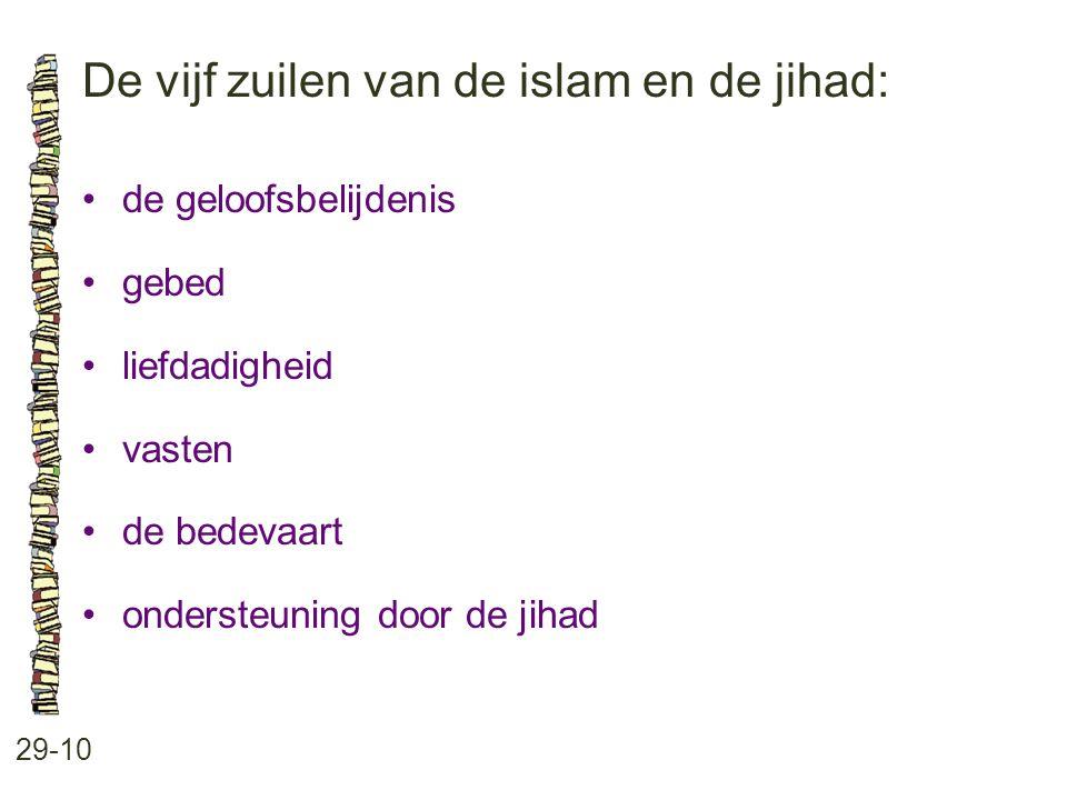 De vijf zuilen van de islam en de jihad: 29-10 de geloofsbelijdenis gebed liefdadigheid vasten de bedevaart ondersteuning door de jihad
