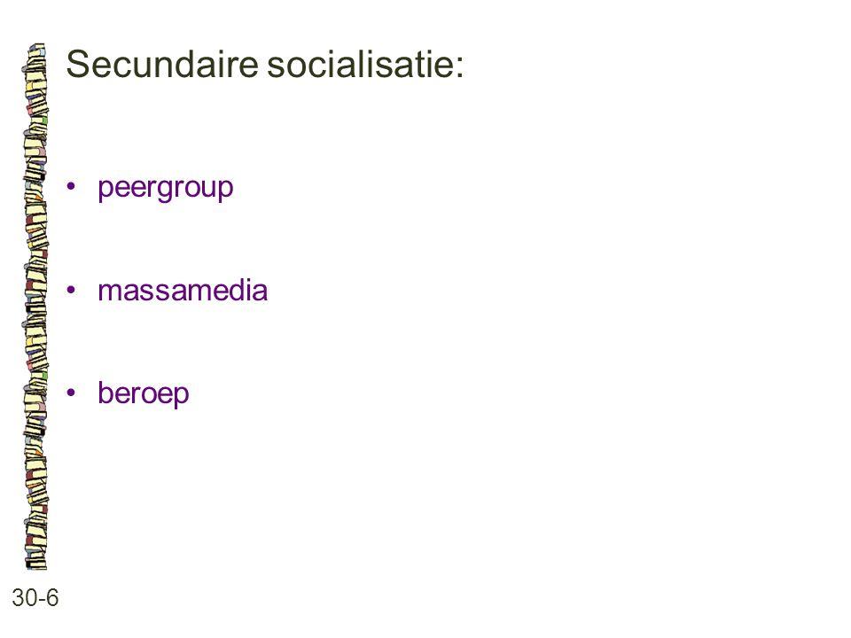 Secundaire socialisatie: 30-6 peergroup massamedia beroep