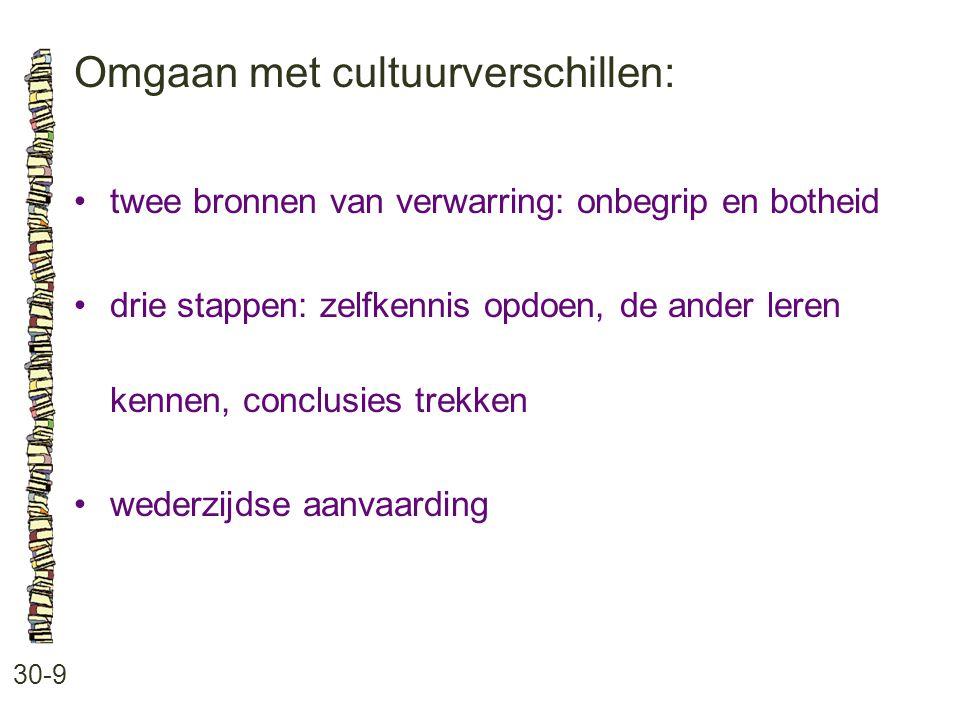 Omgaan met cultuurverschillen: 30-9 twee bronnen van verwarring: onbegrip en botheid drie stappen: zelfkennis opdoen, de ander leren kennen, conclusie