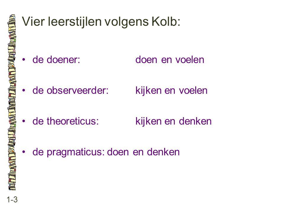 Vier leerstijlen volgens Kolb: 1-3 de doener:doen en voelen de observeerder:kijken en voelen de theoreticus:kijken en denken de pragmaticus:doen en de