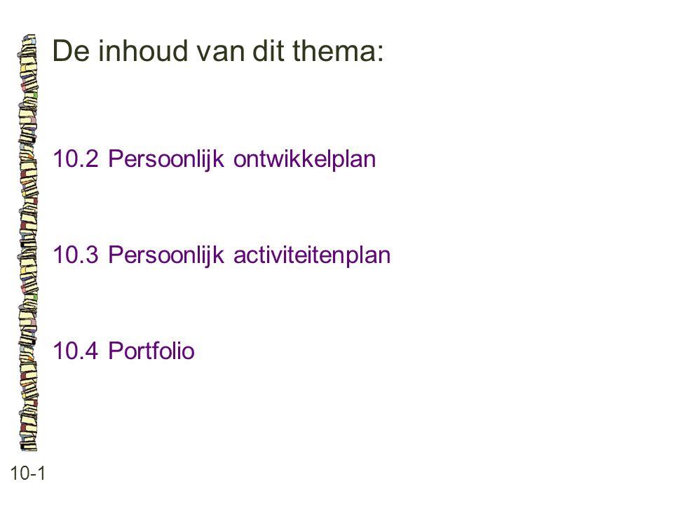 De inhoud van dit thema: 10-1 10.2 Persoonlijk ontwikkelplan 10.3 Persoonlijk activiteitenplan 10.4 Portfolio
