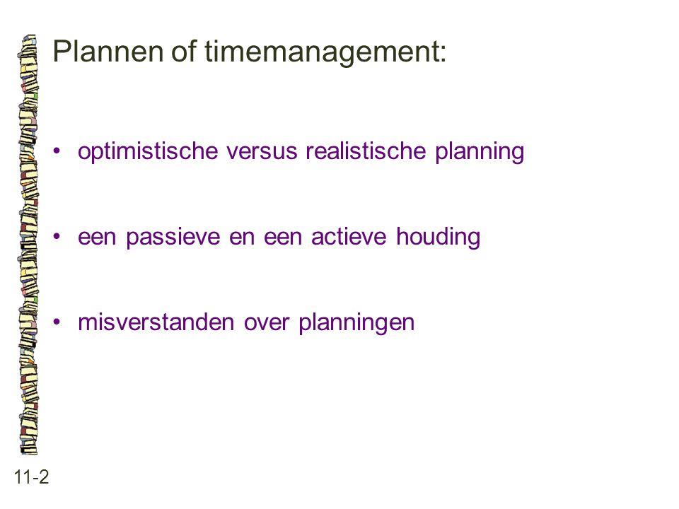 Plannen of timemanagement: 11-2 optimistische versus realistische planning een passieve en een actieve houding misverstanden over planningen
